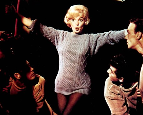 Marilyn Monroe posing in her Aran sweater