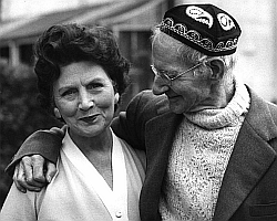 Sean O'Casey with his wife, Eileen, in distinctive coloured cap and Aran sweater